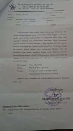 Rabu, 4 Juni 2018 BIMTEK Penyusunan Laporan Realisasi APBDesa 2018